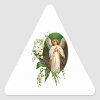 Angel Praying In A Garden Triangle Stickers