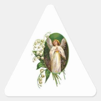 Angel Praying In A Garden Triangle Sticker