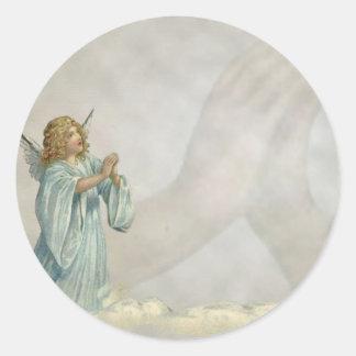 ANGEL PRAYING ROUND STICKERS