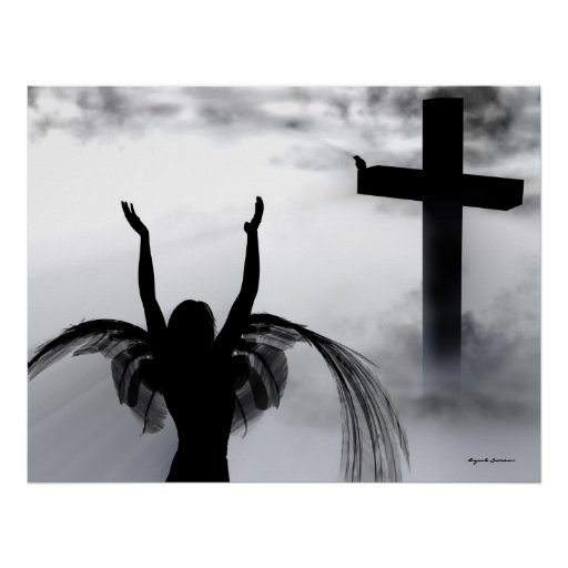 Angel Praying to the Christian Cross Art Print