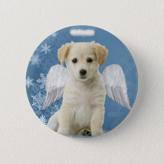 Angel Puppy Christmas Button