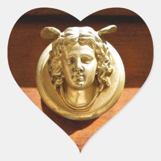 Angel Roman Doorknocker Heart Sticker