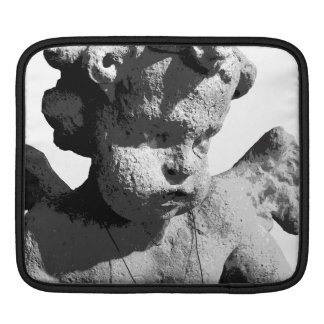 Angel sculpture black-and-white iPad sleeve