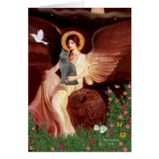 Angel Seated - Russian Blue cat Greeting Card