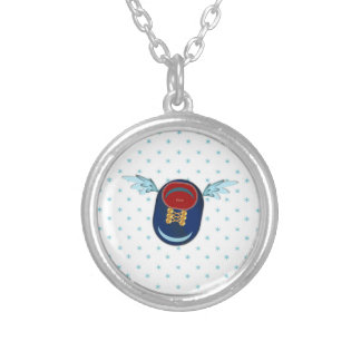 angel shoe silver plated necklace