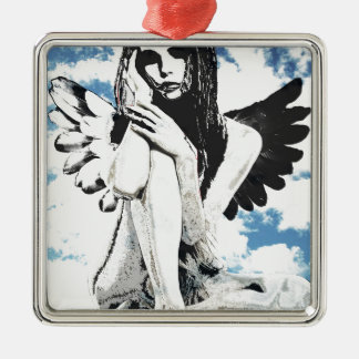 Angel Silver-Colored Square Ornament