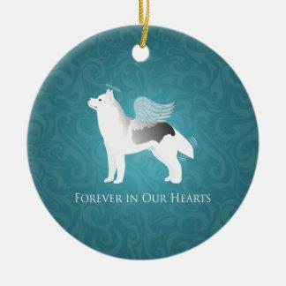 Angel Silver Siberian Husky Dog Pet Memorial Round Ceramic Ornament