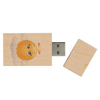 Angel smiley wood USB 2.0 flash drive