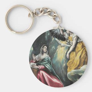 Angel Speaking to Mary Basic Round Button Keychain
