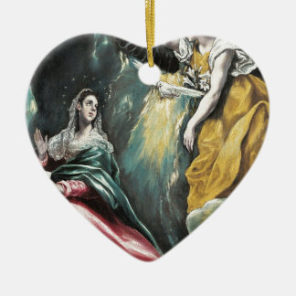 Angel Speaking to Mary Ceramic Heart Ornament
