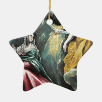 Angel Speaking to Mary Ceramic Star Ornament