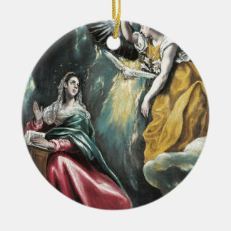 Angel Speaking to Mary Round Ceramic Ornament