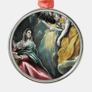 Angel Speaking to Mary Silver-Colored Round Ornament