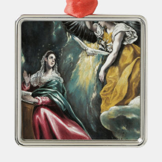 Angel Speaking to Mary Silver-Colored Square Ornament