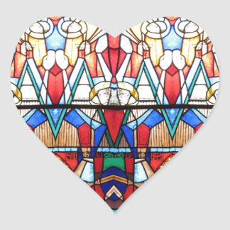 Angel Stained Glass Heart Sticker