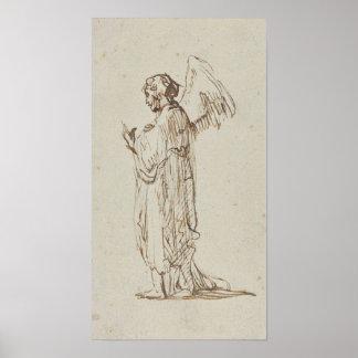 Angel Standing by Rembrandt van Rijn Poster