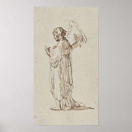 Angel Standing by Rembrandt van Rijn Print