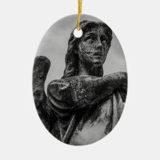 Angel Statue Ceramic Oval Ornament