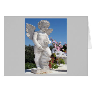 Angel Statue In Grey Greeting Card