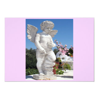 """Angel Statue In Pink And Grey 5"""" X 7"""" Invitation Card"""