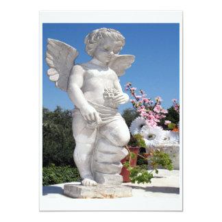 """Angel Statue In White 5"""" X 7"""" Invitation Card"""