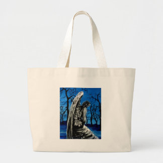 Angel Statue in Winter Large Tote Bag