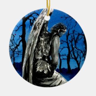 Angel Statue in Winter Round Ceramic Ornament