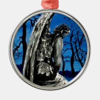 Angel Statue in Winter Silver-Colored Round Ornament