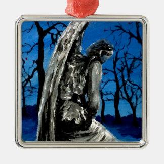 Angel Statue in Winter Silver-Colored Square Ornament