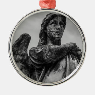 Angel Statue Silver-Colored Round Ornament