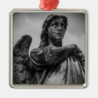 Angel Statue Silver-Colored Square Ornament