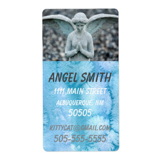 Angel Statue Watercolor Home/Business lg address
