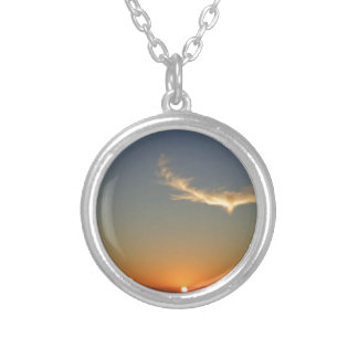 angel sunset silver plated necklace