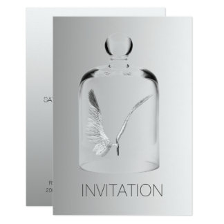 Angel Suprise Birthday Club Party Gray Glass Card