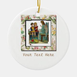 Angel Teaching Children Round Ceramic Ornament