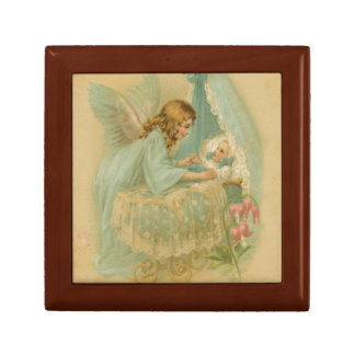 Angel Tending a Baby in a Bassinet Keepsake Boxes