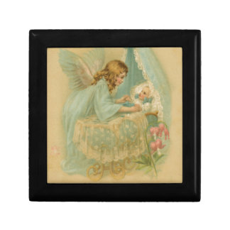 Angel Tending a Baby in a Bassinet Trinket Box