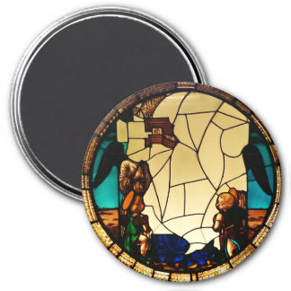 Angel through the glass 3 inch round magnet