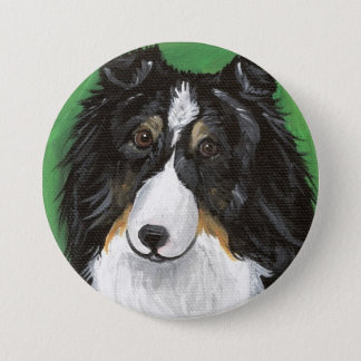 Angel Tri Color Sheltie by Amy Bolin 3 Inch Round Button