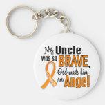 Angel Uncle Leukaemia Basic Round Button Keychain