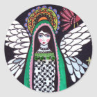 Angel Virgin of Guadalupe Art by Heather Galler Classic Round Sticker
