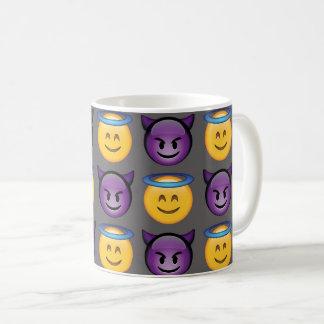 Angel vs Devil Emoji Pattern Coffee Mug