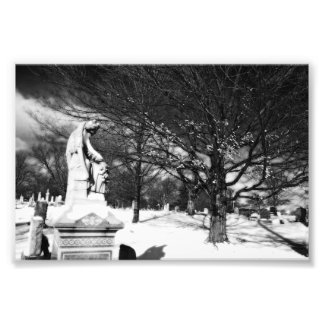 Angel Watches Over Church Cemetery Photo Print