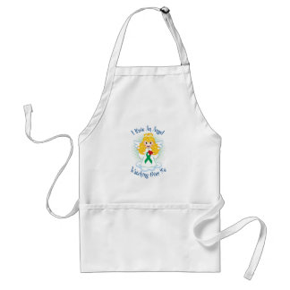 Angel Watching Over Me Green Ribbon Standard Apron