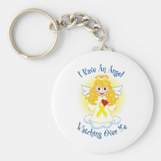Angel Watching Over Me Yellow Ribbon Basic Round Button Keychain