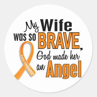 Angel Wife Leukemia Round Sticker
