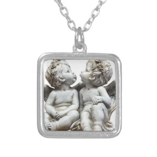 Angel Wing Fairytale Feelings Female Statue Love Silver Plated Necklace