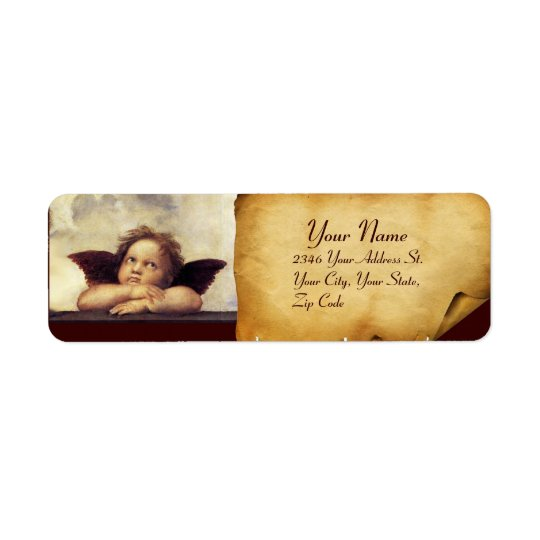 ANGEL / Winged Cherub,,brown parchment,white Return Address Label