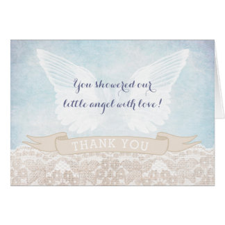 Angel Wings Baby Shower or Baptism Thank You Notes