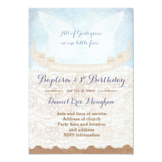 Angel Wings Baptism and 1st Birthday for boy Card